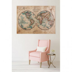 Tableau mappemonde style vintage