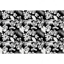 Papier peint motif tropical noir et blanc