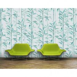 Papier peint motif tropical vert