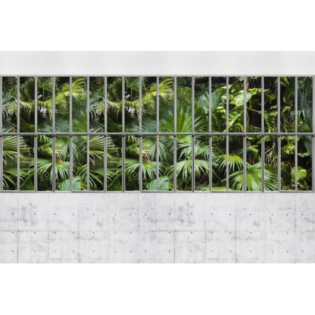 GLASS PARTITION WALL AND CONCRETE Wallpaper