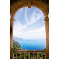 Brise vue trompe l'oeil porche d'une villa sur la mer