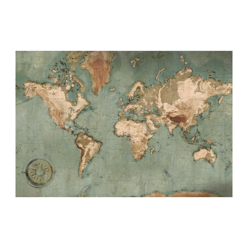 Poster mappemonde vintage : carte du monde géante