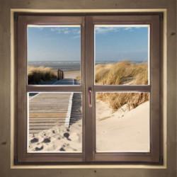 Tableau trompe l'oeil fenêtre sur la mer