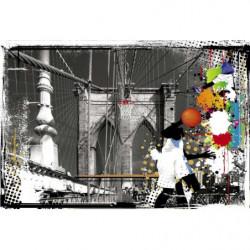 Poster illustration colorée sur le pont de Brooklyn en noir et blanc