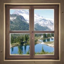 Tableau trompe l'oeil fenêtre sur la montagne