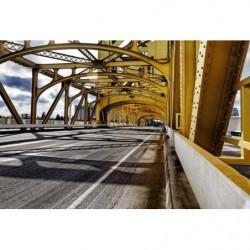 Tapisserie panoramique pont suspendu jaune