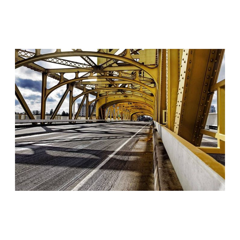 poster mural pont suspendu en trompe l œil grand format