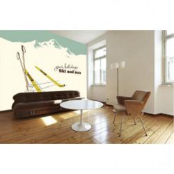 Tapisserie panoramique vintage décor de montagne