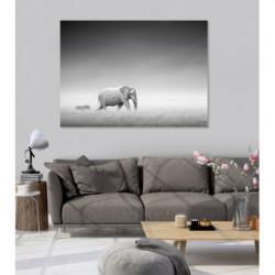 Tableau paysage de la savane noir et blanc