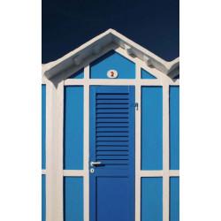 Papier peint trompe l'oeil cabines de plage bleues