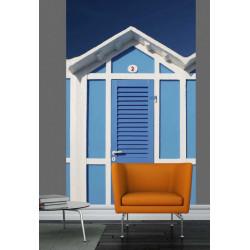 Trompe l'oeil wallpaper blue beach cabins