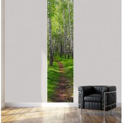 Tenture suspendue chemin dans la forêt de bouleaux