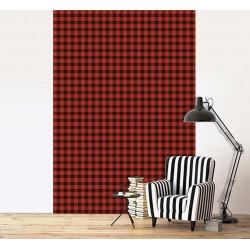 Papier peint motif carreaux rouge et noir