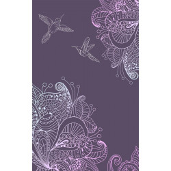 Purple poster with hummingbirds