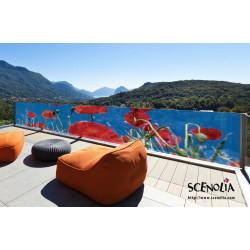 Tenture murale extérieure coquelicot rouge
