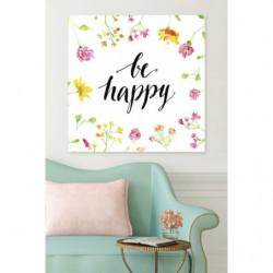 Cuadro en lienzo de flores y cita positiva