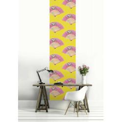 Papel pintado abanico chino rosa y amarillo