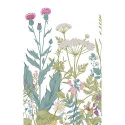 Papier peint fleurs design aux couleurs pastel