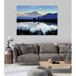 Tableau paysage de lac de montagne au coucher du soleil