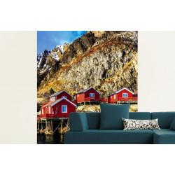 Papier peint paysage des îles Lofoten et bord de mer
