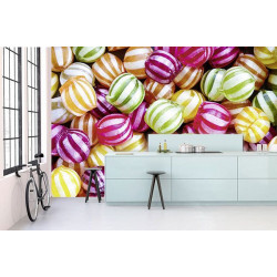 Panoramic poster with coloured candies