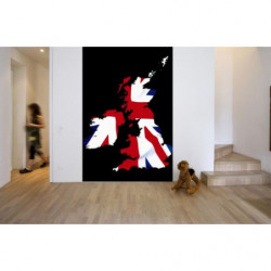 Tenture murale carte de l'Angleterre aux couleurs du drapeau