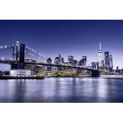 Papier peint pont de Brooklyn bleu