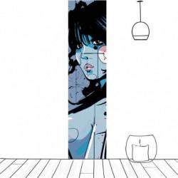 Lé de tapisserie bande dessinée femme bleue