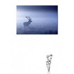 Tableau cerf dans la brume bleue