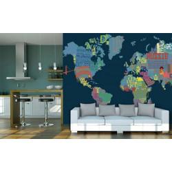 Papier peint panoramique mappemonde bleue