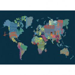 Tableau mappemonde illustrée bleue