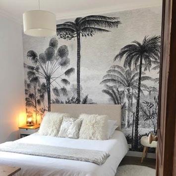 Papier peint gravure palmier chez Christophe