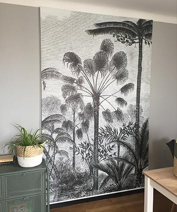Tenture suspendue gravure palmier chez Marie-Helene