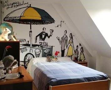 Papier peint centre ville dessin pour chambre