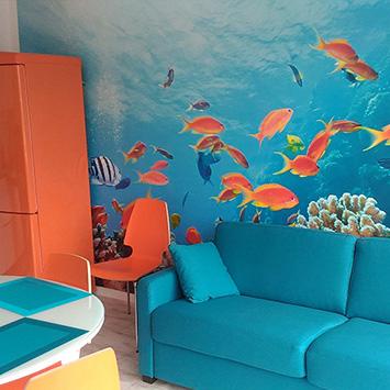 Papier peint poissons rouge bleus