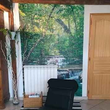 Papier peint forêt et rivière chez Joelle
