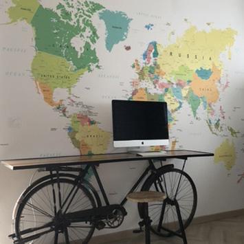 Papier peint carte du monde verte chez Selda
