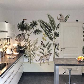 Papier peint cuisine graphique jungle