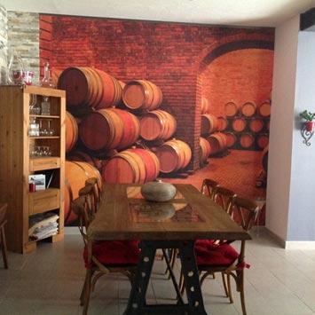 Papier peint la bonne cave pour ambiance rustique