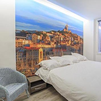 Papier peint panoramique Marseille dans une chambre à coucher