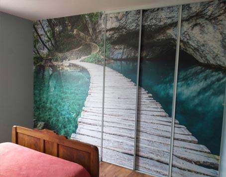 Tapisserie trompe l'oeil bassin naturel pour chambre