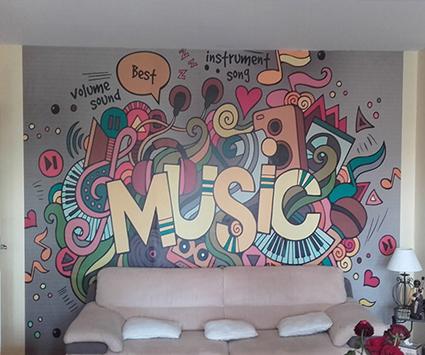 Papier peint musique chez Evelyne