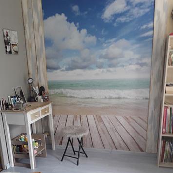 Papier peint planches sur mer chez Catherine
