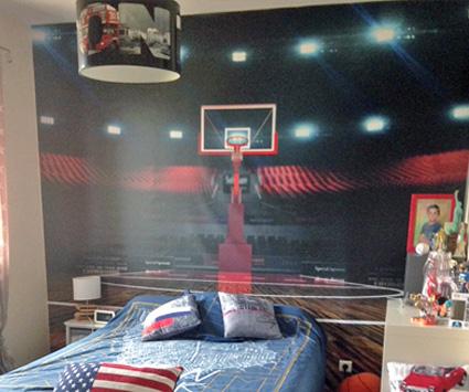 Papier peint salle de basket déco chambre d'ado