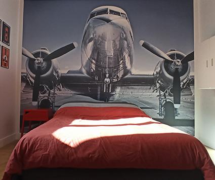 Papier peint tête de lit avion