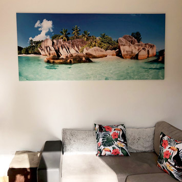 Tableau mer turquoise et île paradisiaque