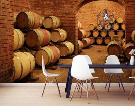 Papier peint cuisine cave à vin