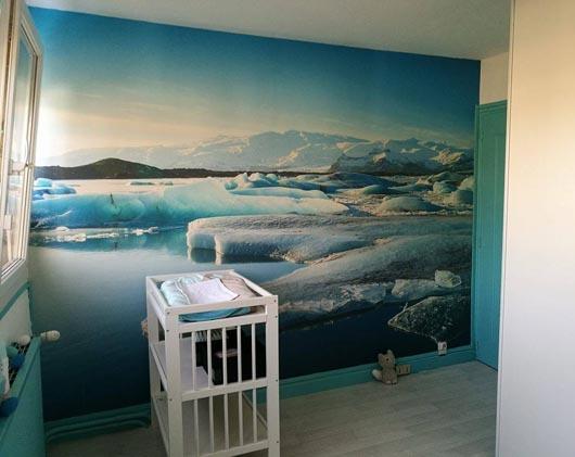Papier peint chambre aux couleurs douces