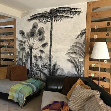 Gravure palmier panoramique