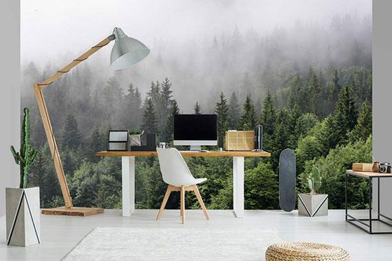 Papier peint bureau paysage de brume